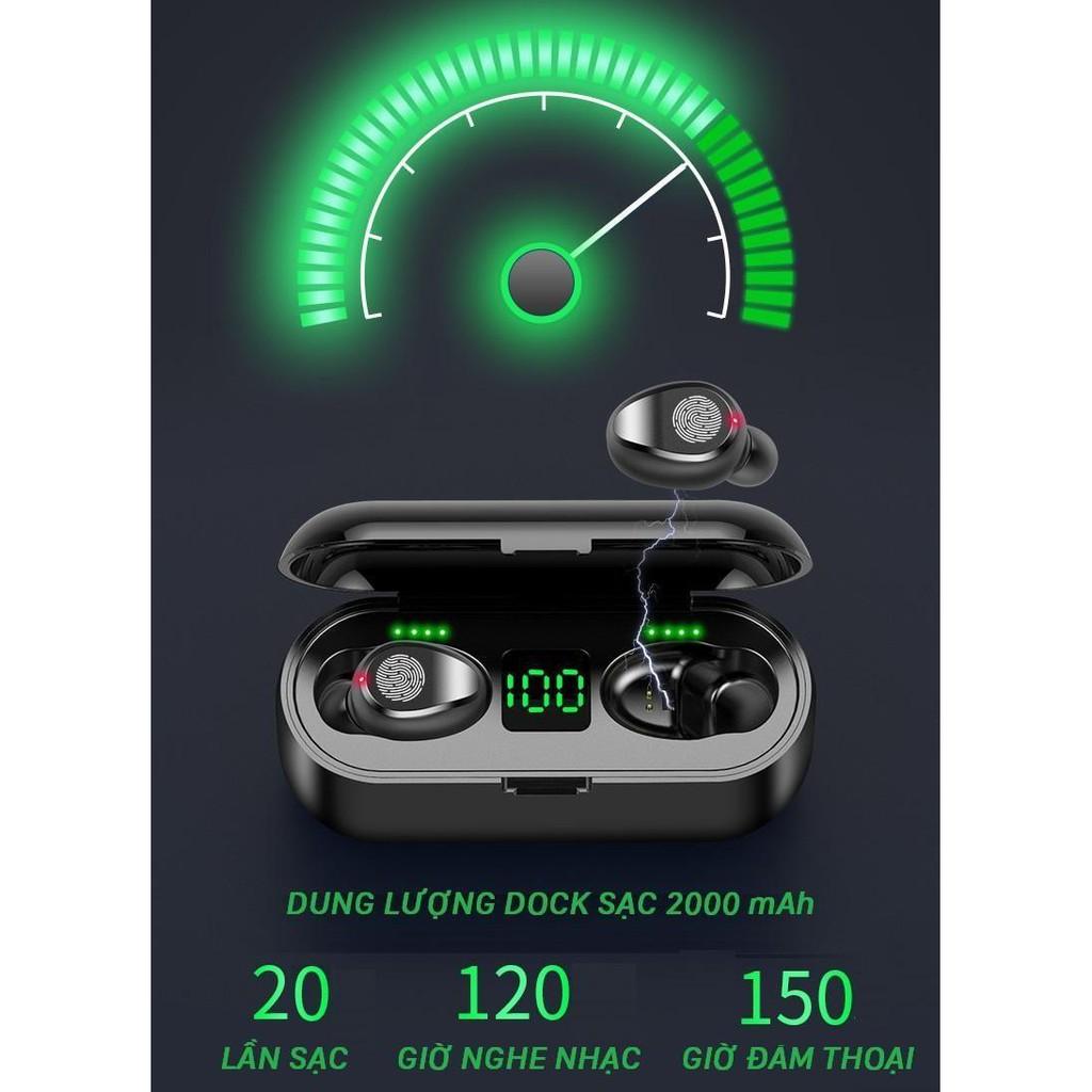 Tai nghe bluetooth không dây AMOI F9 Cảm Ứng Bản Quốc tế Bluetooth 5.0 Pin 280 giờ làm sạc dự phòng 2000mah