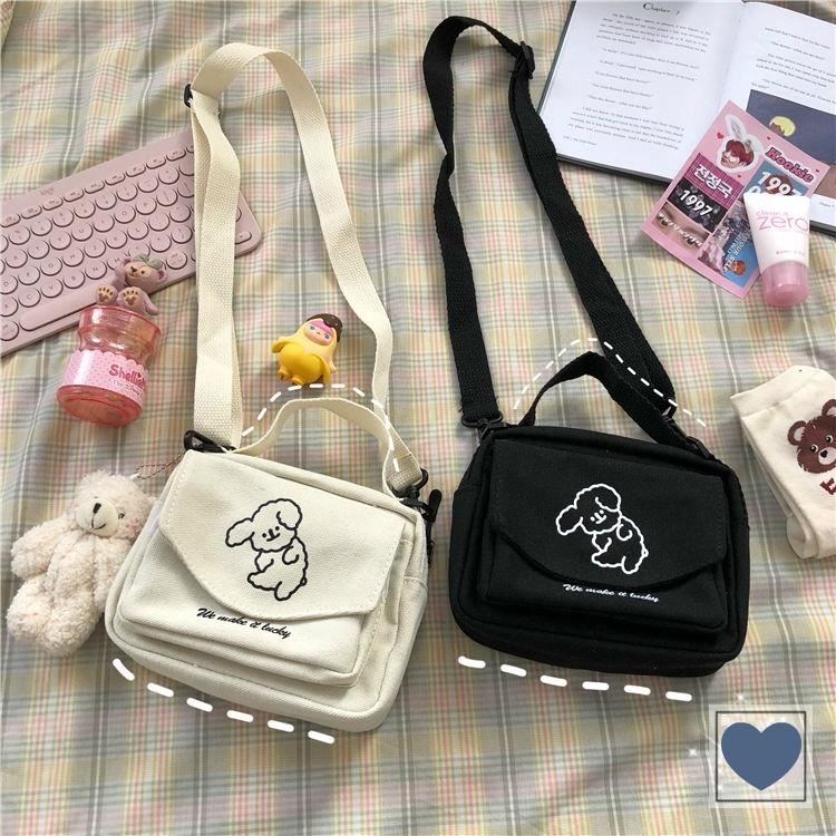 Túi canvas đeo chéo thêu hình chú cún ngộ nghĩnh đáng yêu phong cách Harajuku Nhật Bản
