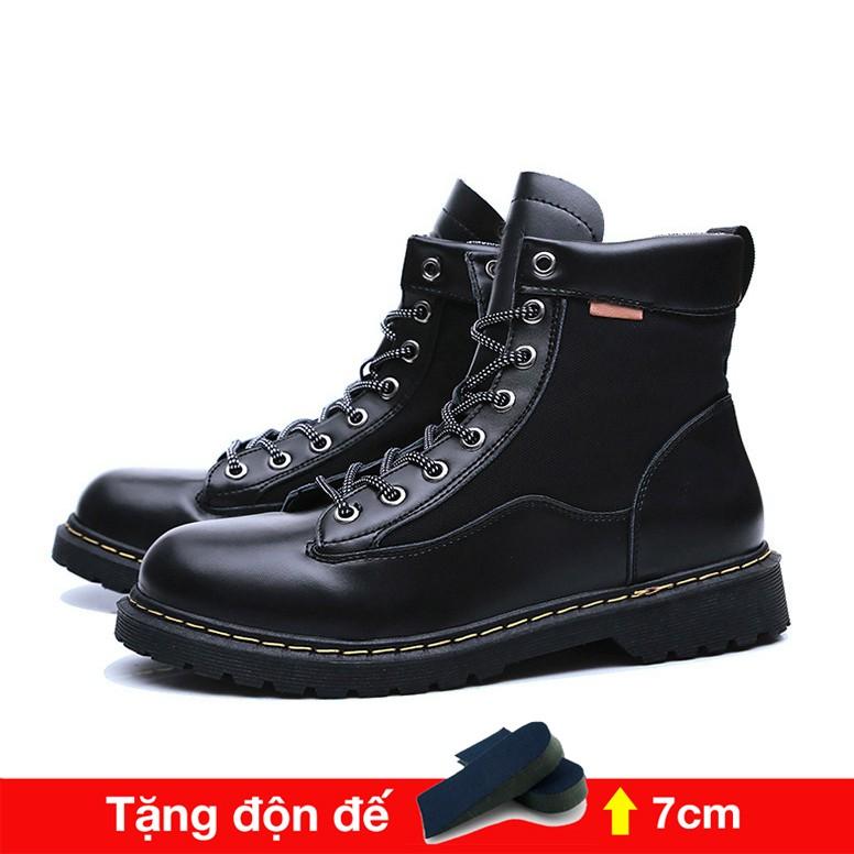 Giày da nam cao cổ tăng 7cm chiều cao( Tặng 1 lót giày tăng chiều cao) Đế cao su mũi cao khỏe, phong cách Bụi