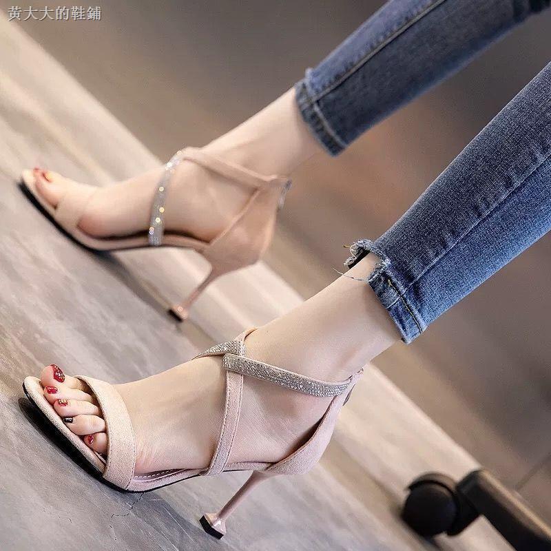 Giày sandal da lộn màu đen quai chéo trẻ trung quyến rũ thời trang dành cho nữ