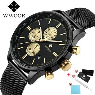 WWOOR men watch quartz stainless steel strap wristwatch 8862