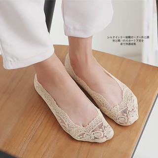vớ ren chống trượt mang giày cao gót, giày búp bê (màu Kem, màu đen) - PK07 7