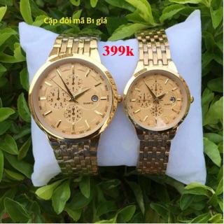 Đồng hồ đôi nam nữ Baishuns màu vàng mặt vàng chống nước (tặng kèm pin) thumbnail