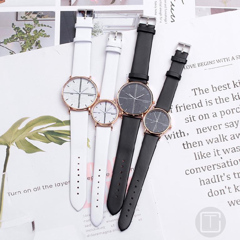 นาฬิกาคู่แฟชั่นเกาหลีสไตล์ฮาราจูกุนาฬิกาบุคลิกที่เรียบง่าย 690