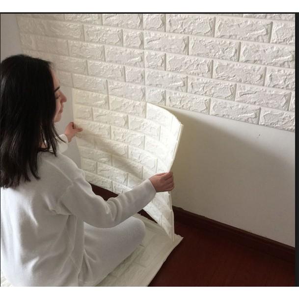 Xốp dán tường 3D giả gạch 70x70 | Shopee Việt Nam