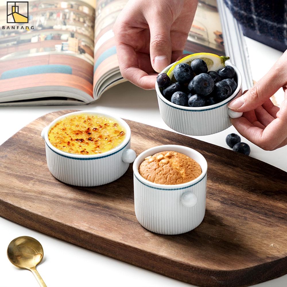 Cốc BANFANG Bằng Gốm Dùng Hấp Trứng/Nướng Bánh Tráng Miệng Cho Lò Vi Sóng