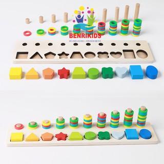Giáo Cụ Montessori Bảng Bậc Thang 10 Cột Tính Và Hình Khối