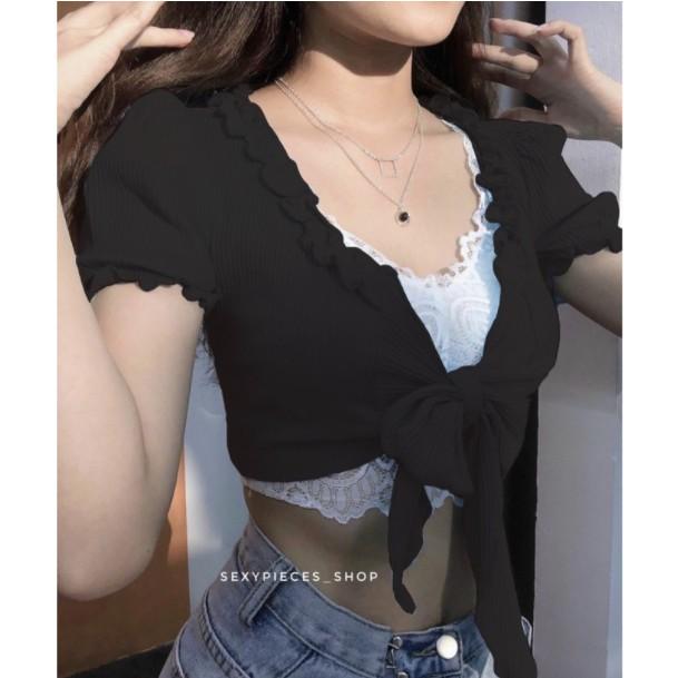 Mặc gì đẹp: Gợi cảm với Áo Croptop Nơ Ngực GenY - Áo Croptop Kiểu Cột Thắt Nơ Trươc Ngực Siêu Xinh, Chất Vải Mềm Mịn