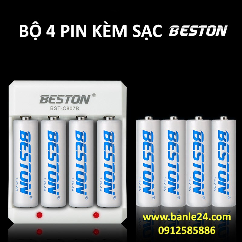 Combo 4 pin AA/AAA kèm sạc hãng BESTON giá siêu tốt, bảo hành 1 tháng | Pin mic không dây, camera, pin điều khiển