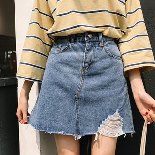 2018 spring and summer new Korean version of the high waist tattered raw edge A
