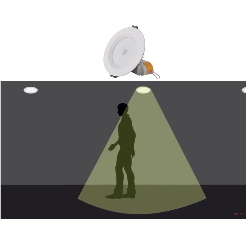 Đèn LED âm trần cảm biến 9W Rạng Đông, khoét lỗ 110mm, vỏ nhôm đúc