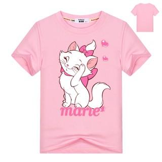 Áo thun in hình mèo Kitty tay ngắn vải cotton 100% thời trang mùa hè dành cho bé gái