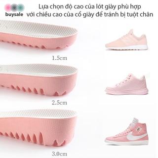 Lót giày nữ độn đế cao su non kiểu tổ ong tăng chiều cao 1.5cm, 2.5cm, 3cm - Hồng phối xám nhạt - buysale - BSPK156 2
