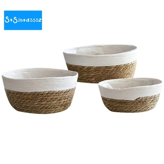 Straw Flower Pot Oval Hand Woven Flower Basket Seaweed Woven Storage Basket Succulent Flower Pot Home Decoration, 3PCS