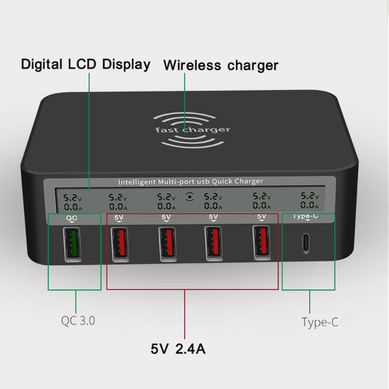 Bộ sạc nhanh Qi không dây loại C USB 5 cổng 7 trong 1 QC 3.0 cho iphone kèm phụ kiện