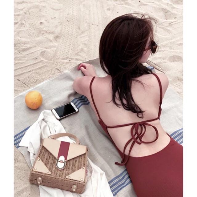 (Sẵn Nâu sz L) Hàng order CÓ ẢNH THẬT - Bikini liền 1 mảnh hở lưng đơn giản sexy quyến rũ