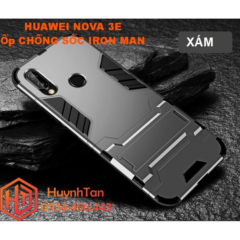 Ốp lưng Huawei Nova 3E _ Ốp chống sốc Iron man có chân chống (màu xám)