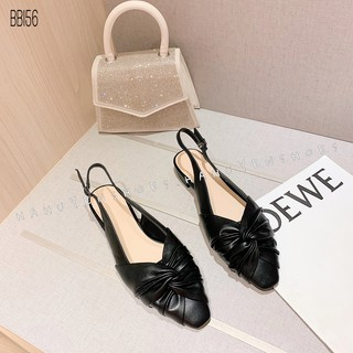 Bệt nữ HHS da xoắn quai hậu gót vuông 1 phân Hà Huyền Shoes - BB156
