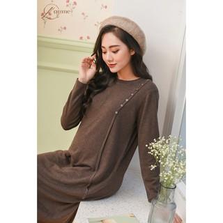 Váy bầu mùa đông chất len có khuy vai dễ dàng cho bé bú dáng suông thoải mái sản phẩm của LAMME thumbnail