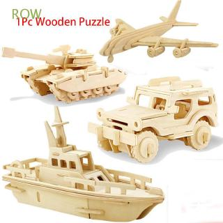 ROW Children Kids Educational Game Creative Natural Color Environmental assembled Plane Wooden Car