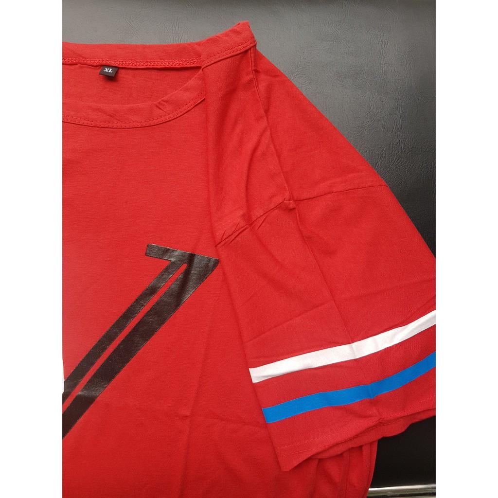 Áo phông nam TN25 chữ W sọc tay sợi rễ tre tổng hợp