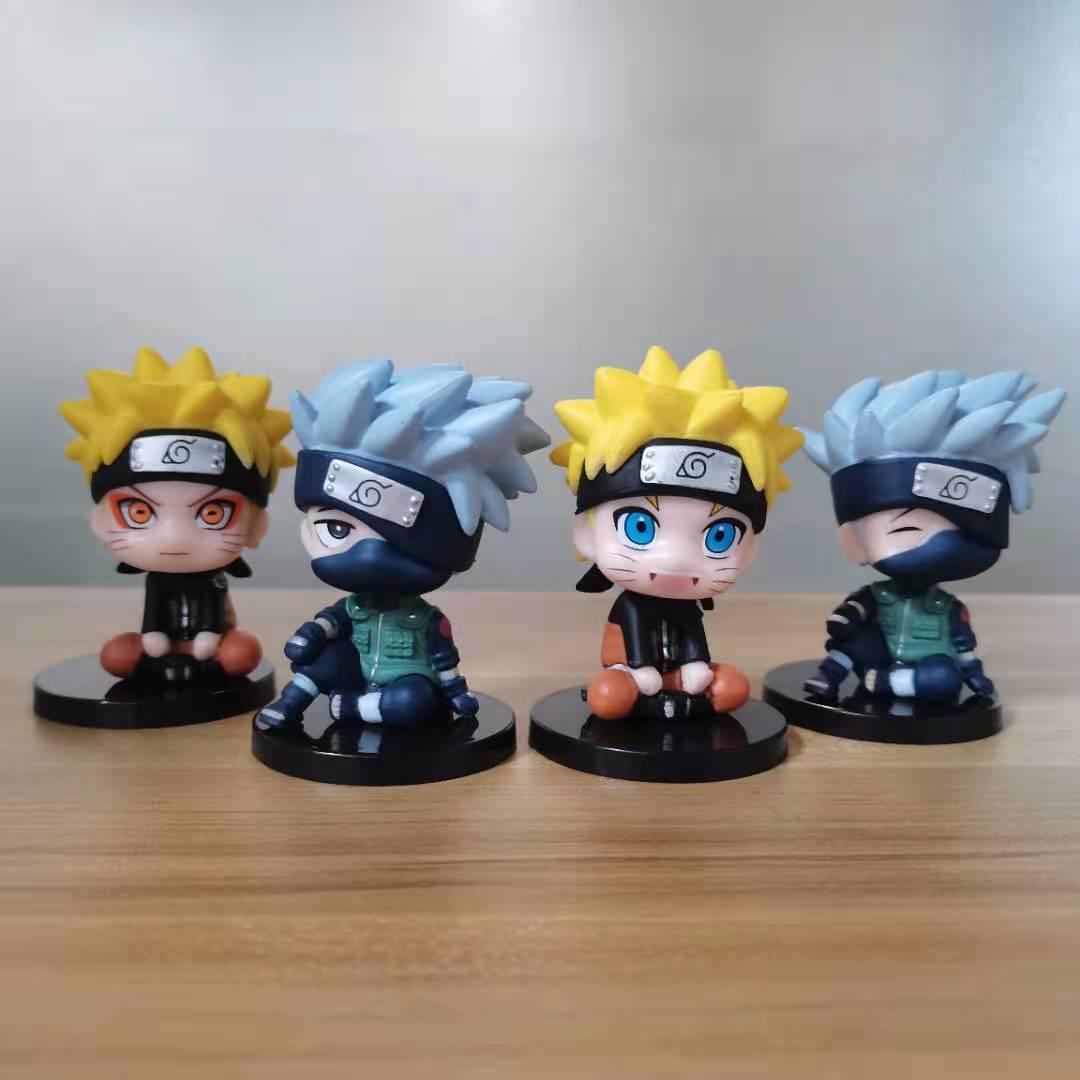 Set 4 Mô Hình Nhân Vật Uchiha Sasuke / Uzumaki Naruto Kích Thước 6cm