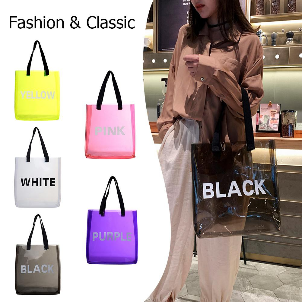 [myhom] Transparent Jelly PVC Shopping Totes Women Shoulder Beach Travel Handbags