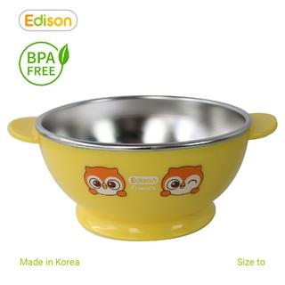 Đồ dùng ăn dặm cho bé MADE IN KOREA Bát ăn dặm, ăn cơm, ăn cháo inox 2 lớp cách nhiệt cho bé có đế chống trượt Edison