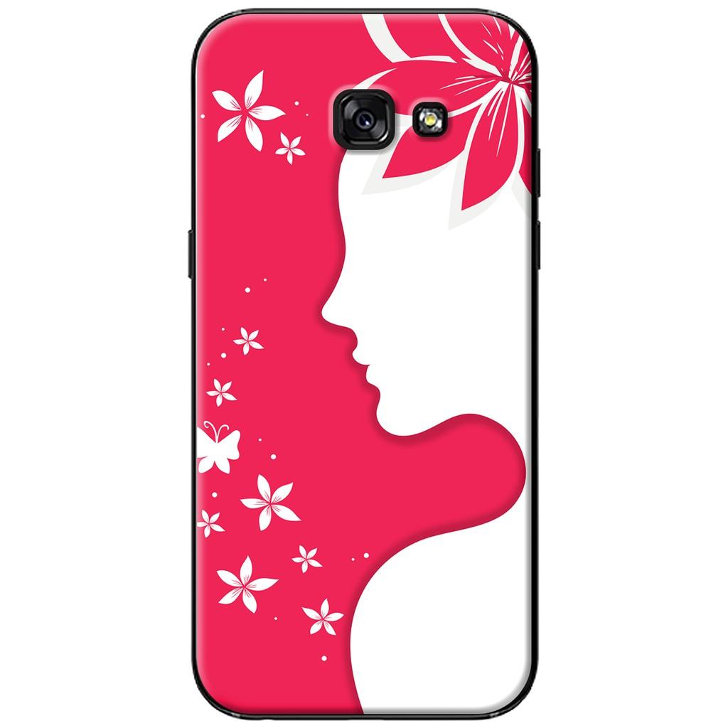 Ốp lưng Samsung A3/A5/A7 (2017) - nhựa dẻo Cô gái cài hoa đỏ nghệ thuật