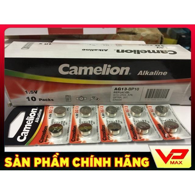 Vỉ 10 viên pin nút áo 1.5V Camelion AG13, LR44, A76, SR44W, GP76A, 357 L1154F L1154 cho điện thoại, đồng hồ, máy tính, đ
