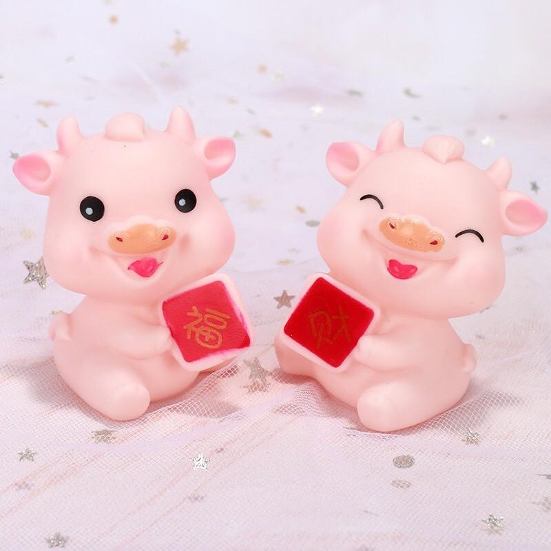 Cặp trâu hồng trang trí bánh kem - Con vật trang trí bánh kem