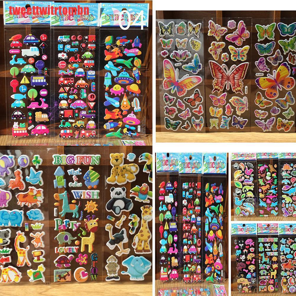 [tweettwitrtombn]10pcs/Lot Bubble Stickers 3D Cartoon KIds ClassicToys Sticker School Reward gift