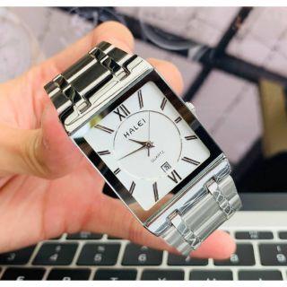 Đồng hồ halei nam mặt vuông dây kim loại