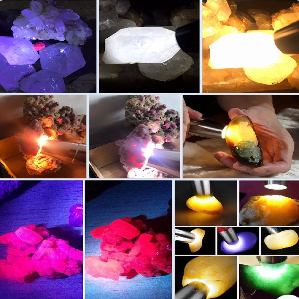 Đèn soi đá 4 bóng màu  6 chế độ sáng - Trắng Vàng Tím và Tím mạnh - Kèm Pin Sạc Tặng Đầu thu nhỏ sáng và ruby thô.