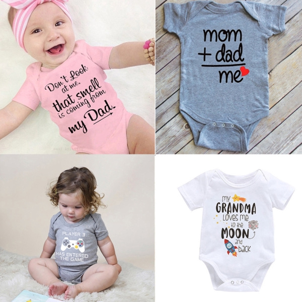 Infant Baby Printing Letters Romper Jumpsuit Short Sleeve Cute Toddler Boy Girl Clothing