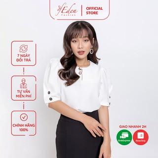 Áo kiểu công sở thời trang Eden dáng suông tay phồng phối nút - ASM080 thumbnail