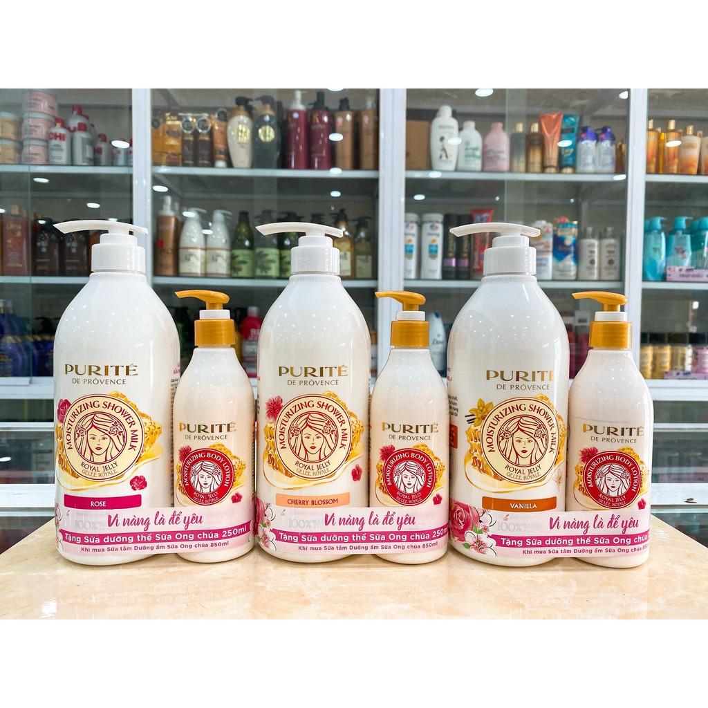(850ml Tặng Dưỡng Thể 250ml) Sữa Tắm Dưỡng Ẩm Sữa Ong Chúa Purite Provence Chính Hãng Công Ty