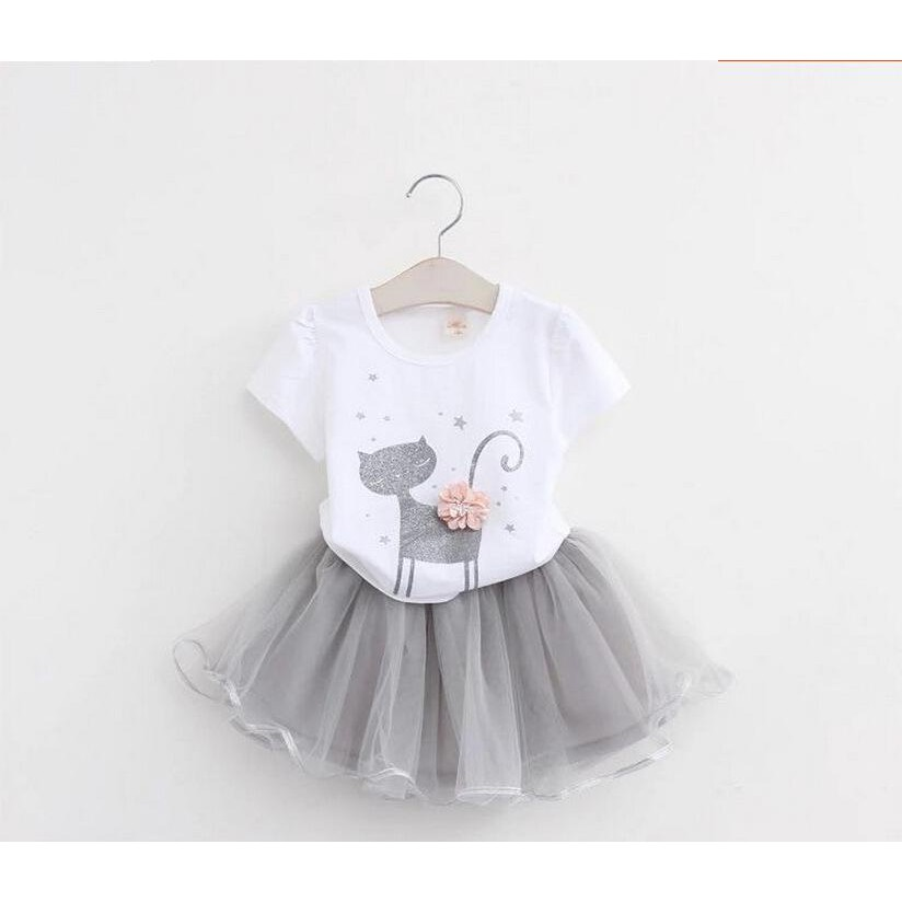 New Kid'S Suits Girls Cartoon T-Shirts &Yarn Dresses Cartoon Kittens Girl'S Suits