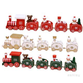 Christmas Children's Gifts Small Five-section Train Wooden Window Decorations 388