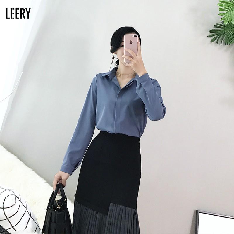 Mặc gì đẹp: Phong cách với Áo sơ mi công sở nữ đẹp kiểu Hàn Quốc form rộng tay dài chất lụa cao cấp màu Trắng Be Đen Xanh LEERY SM-01