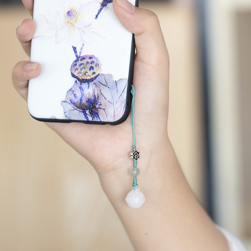 ❄♝Immersion Incense Yuzi original white jade dongling Bell mobile phone chain pendant small u plate woman