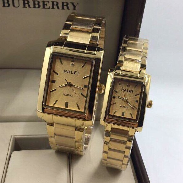 Cặp đồng hồ đôi Halei máy Nhật mạ vàng không gỉ chống nước , chống xước tiêu chuẩn 3atm phân phối Tony Watch 68