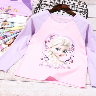 Trẻ em gái 2-7 tuổi Áo thun dài tay mùa xuân Phim hoạt hình cô gái Alisa Quần áo