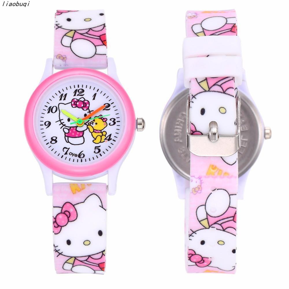การ์ตูน Hello Kitty เด็กหญิงแฟชั่นเด็กนาฬิกานาฬิกาสีชมพูน่ารักบูติกสาวนาฬิกานาฬิ