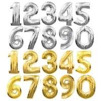 Bóng số tuổi sinh nhật mầu vàng đồng / mầu bạc size to 40cm