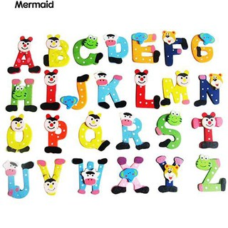 26 Pcs Cartoon Alphabet Letters Wooden Fridge Magnet Educational Kids Toy