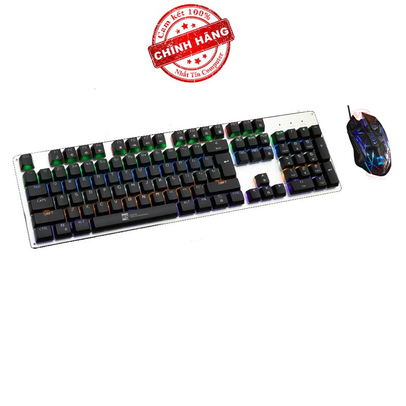 Bộ bàn phím cơ và chuột LED chơi Game R8 G100 - 1650 (Đen)