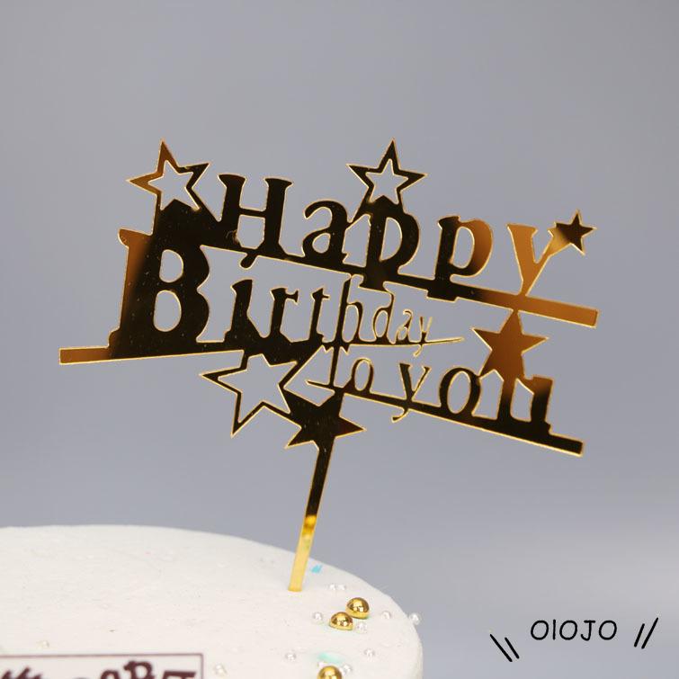 Topper Trang Trí Bánh Kem Chữ Happy Birthday