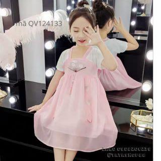 Váy bé gái diện Tết phong cách hàn quốc size đại 15 33kg