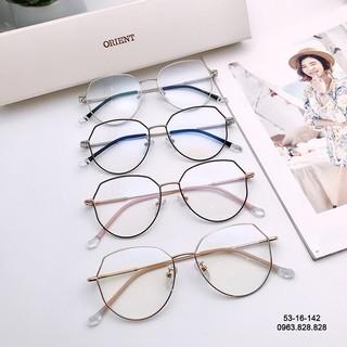 Gọng kính cận tròn bầu 53-16-142 Hàn Quốc càng kim loại dễ đeo